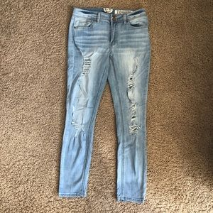 Light wash distressed jeans!